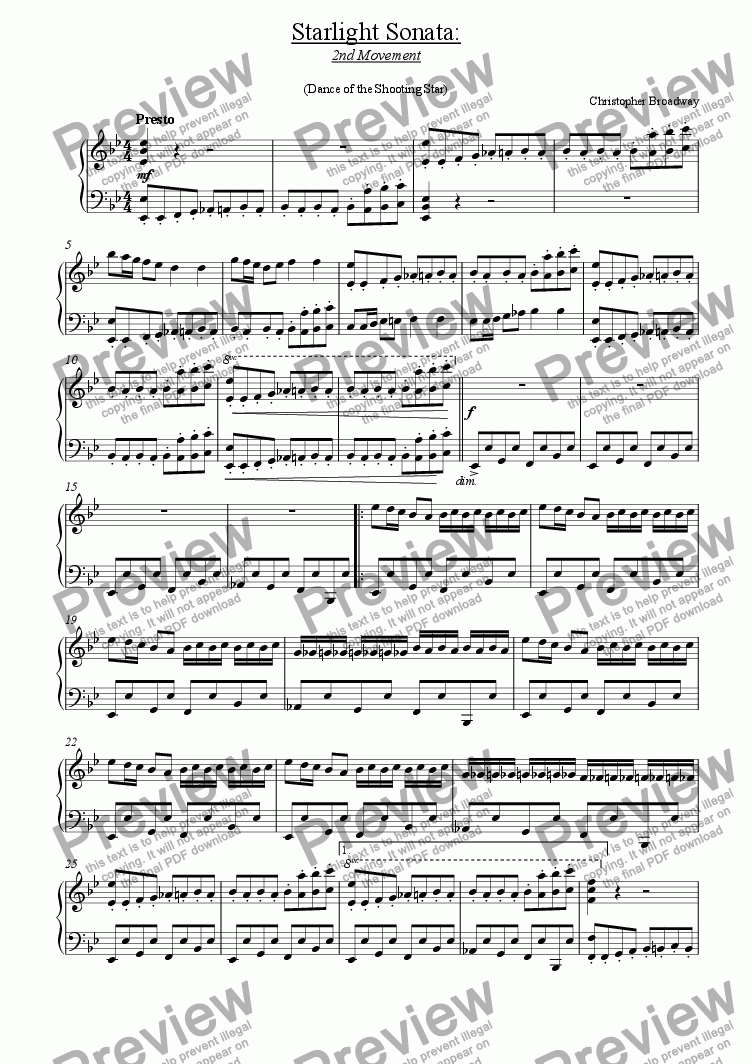 page one of Starlight Sonata: 2nd MovementASALTTEXT