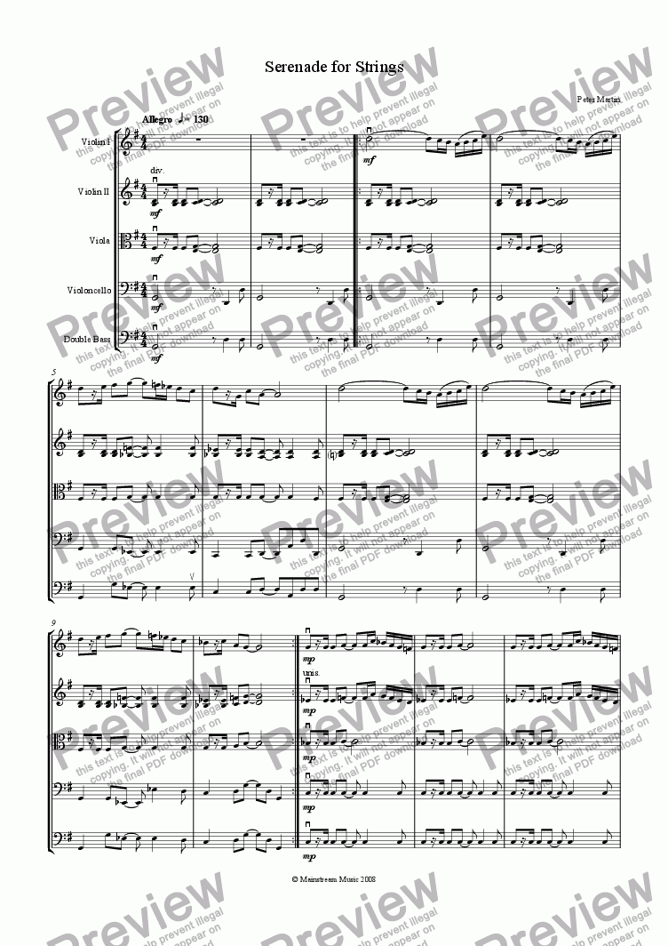 page one of Serenade for StringsASALTTEXT