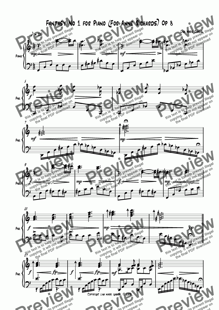 page one of Fantasy No 1 for Piano Op 8ASALTTEXT