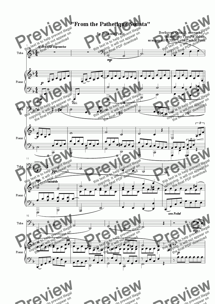 page one of From the Pathetique Sonata