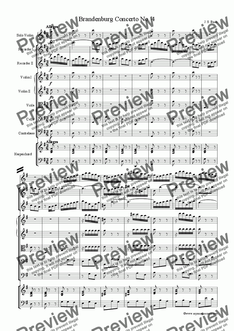 page one of Brandenburg Concerto No.4ASALTTEXT