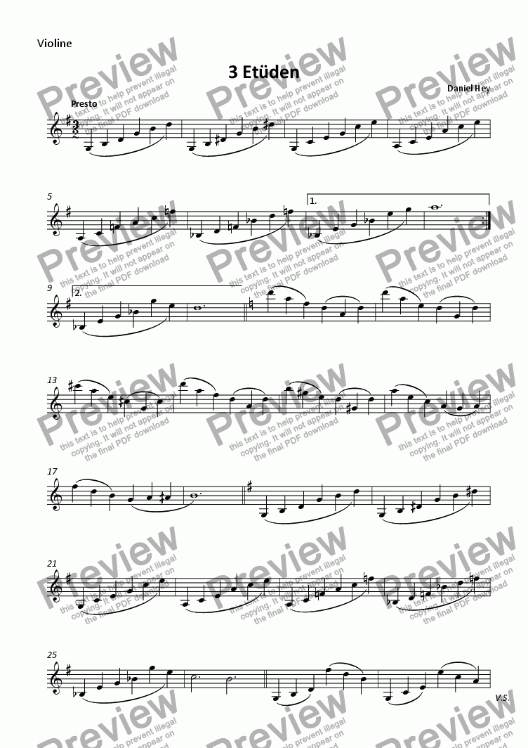 page one of 3 Etudes for violin