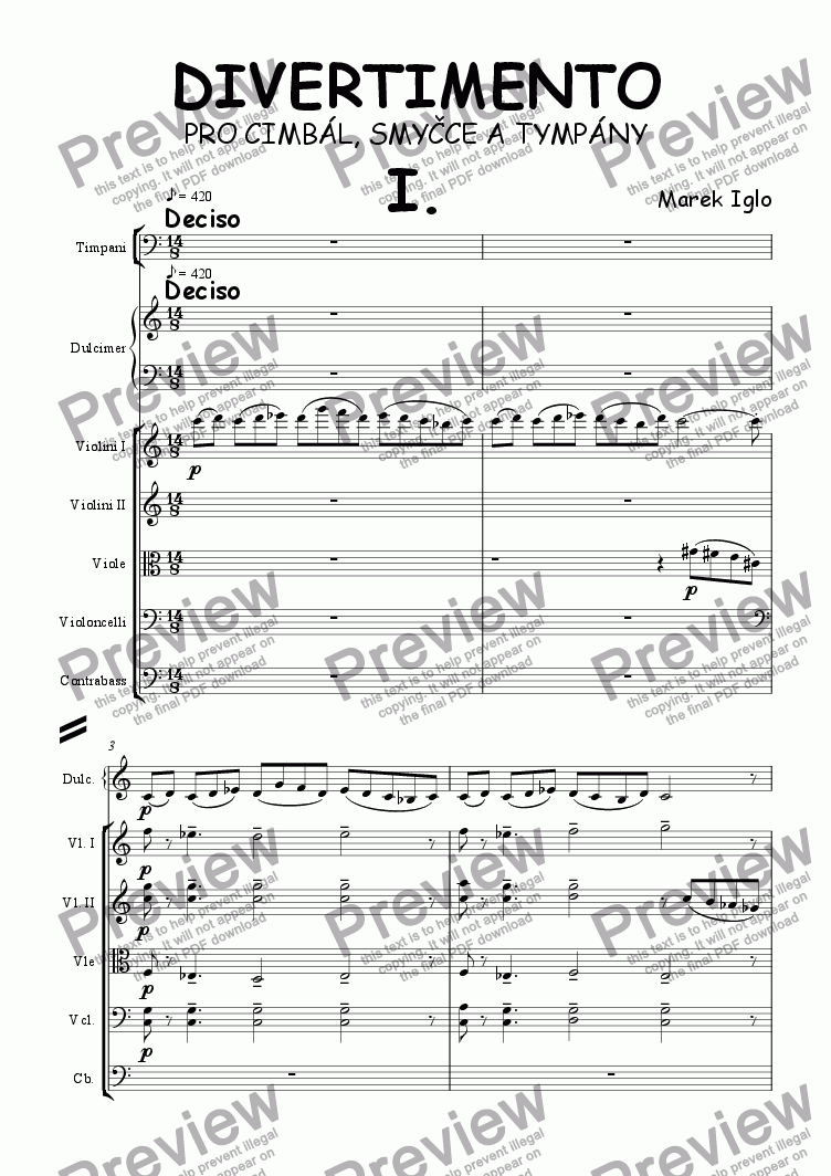 page one of Divertimento for dulcimer, strings and timpani