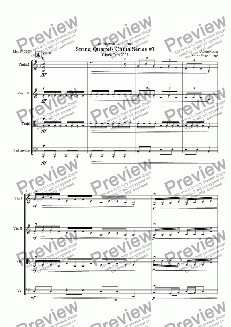 page one of China Series 01: String Quartet No. 1 - Love my home townASALTTEXT