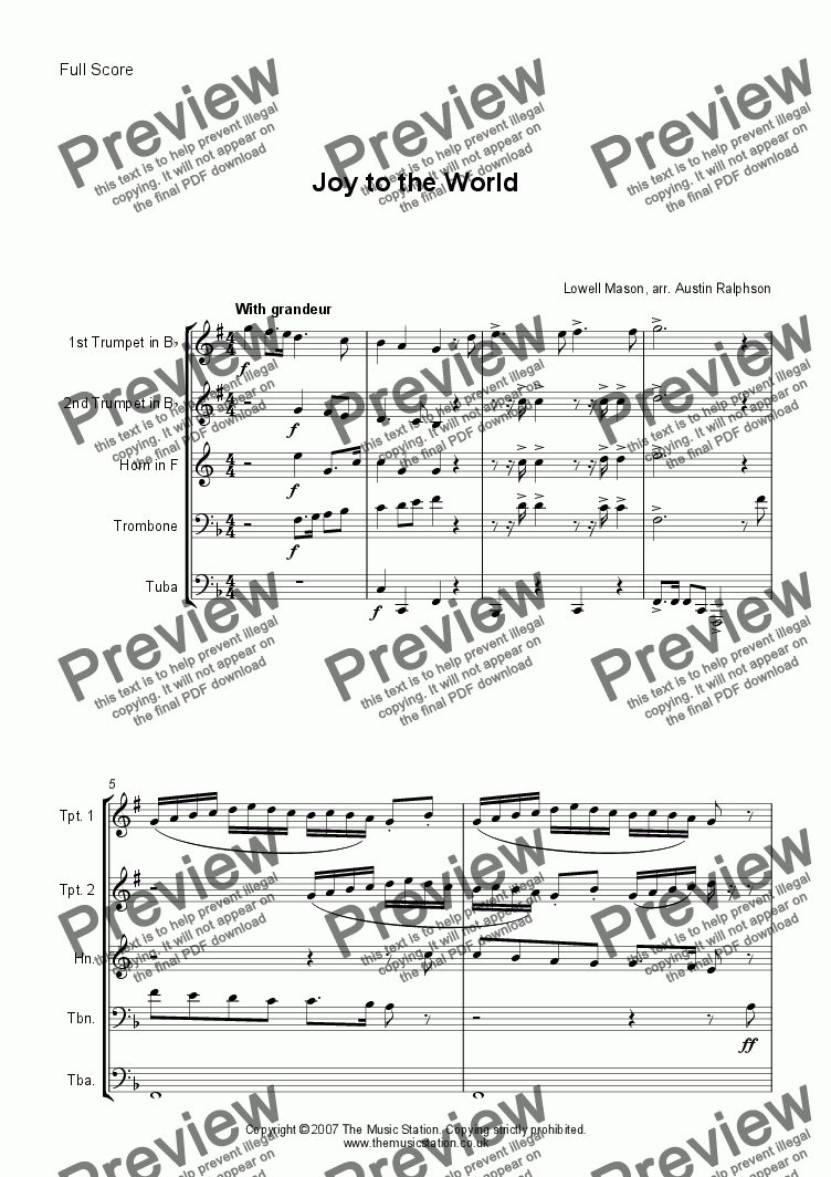 page one of Joy To the World - brass quintet