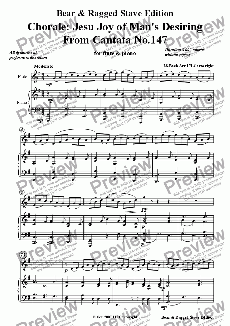 page one of Chorale: Jesu, joy of Man's Desiring for flute & piano