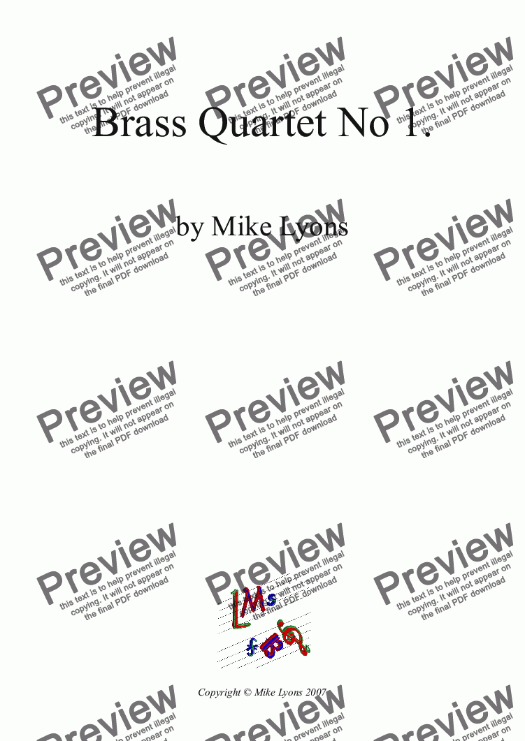 page one of Brass Quartet - Quartet No 1.