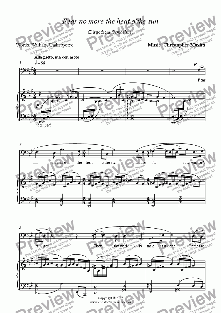 page one of Fear no more the heat o'the sun (Song for Baritone and Piano)