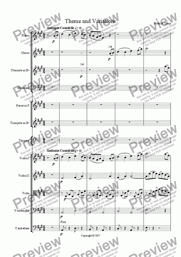 page one of Theme and Variations for Orchestra