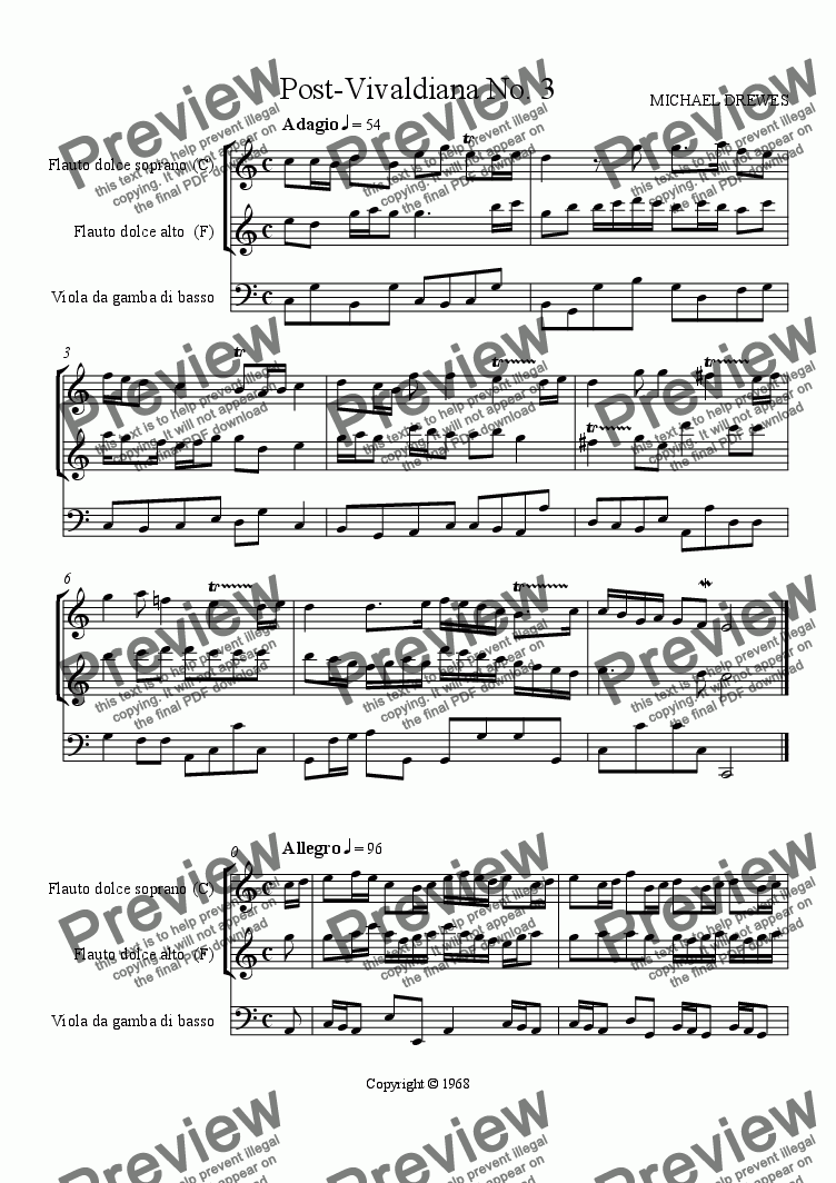 page one of Post Vivaldiana No. 3 (Recorders and Bass Viol)