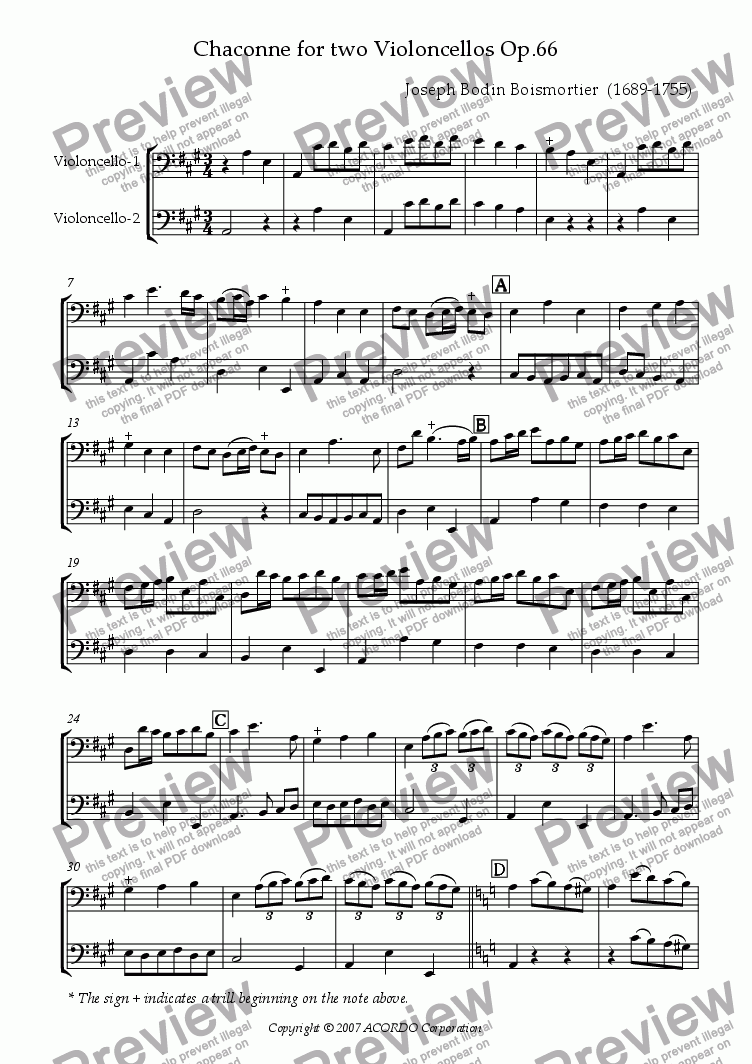 page one of Chaconne for two Violoncellos Op.66