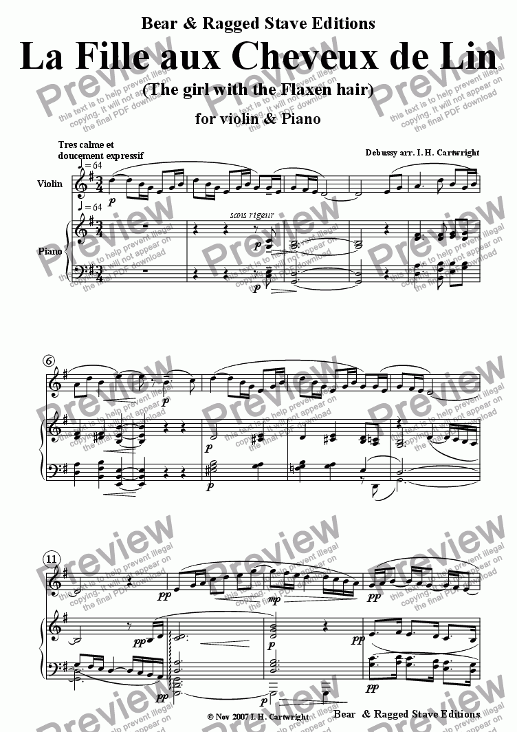 page one of The Girl with the Flaxen Hair for Violin and piano