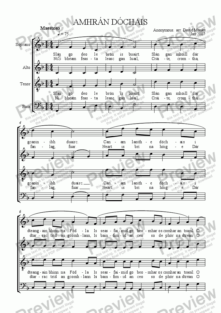 page one of Amhr�n D�chais - Anthem of Hope (SATB + Descant)ASALTTEXT