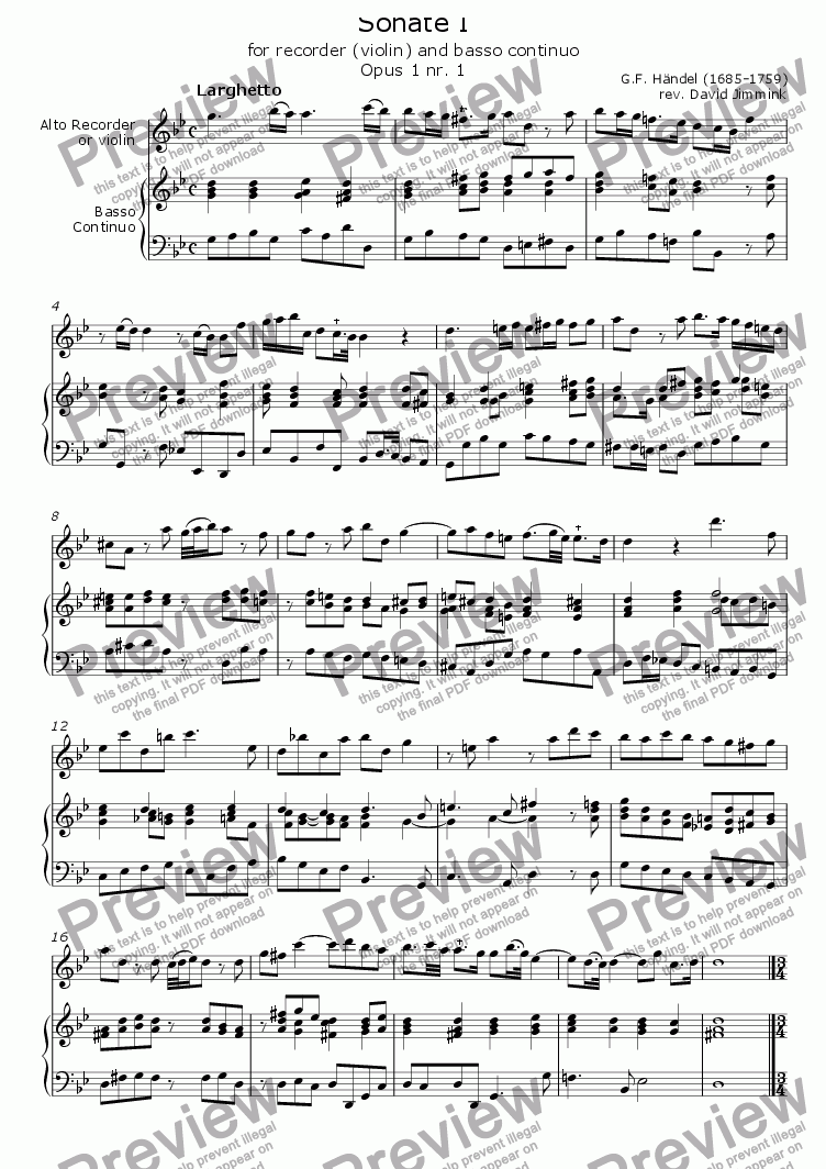 page one of Sonate I for recorder/violin and B.C. (opus 1 nr. 1)ASALTTEXT