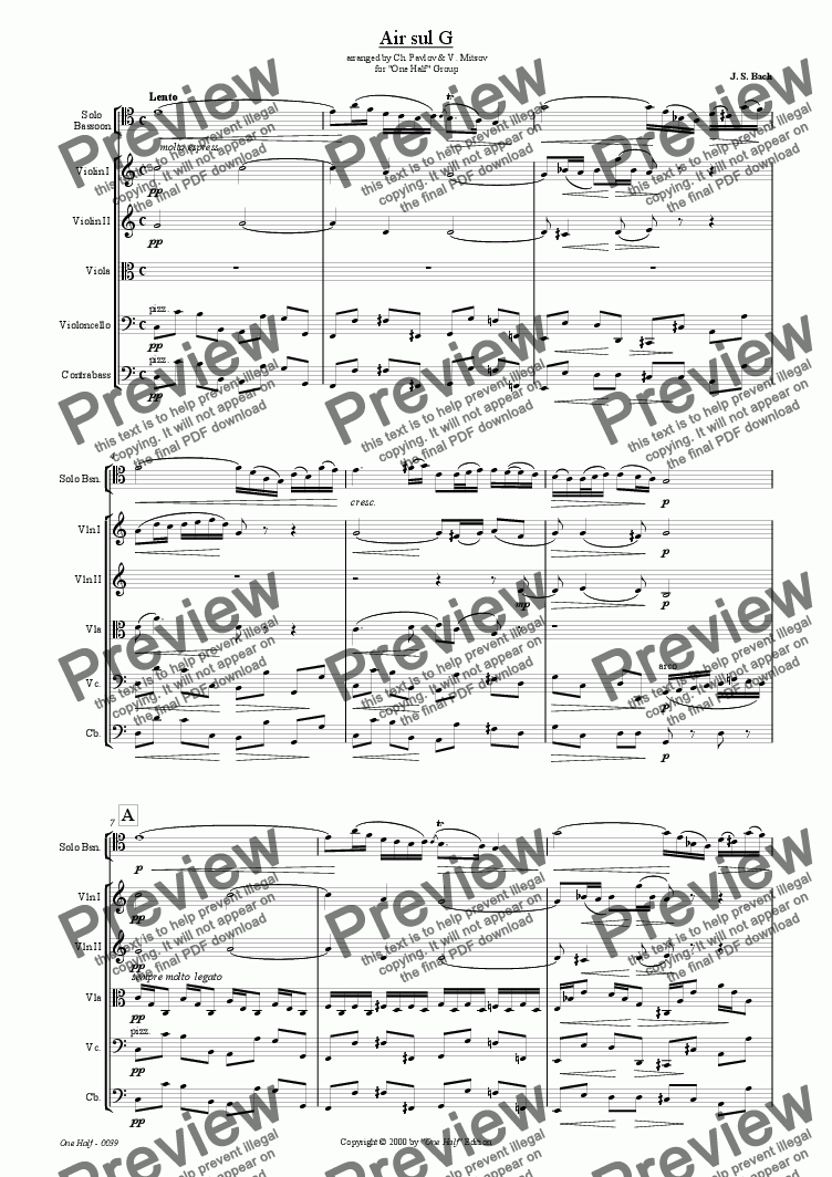"page one of Bach - ""Air sul G"" for solo bassoon and string orchestra"