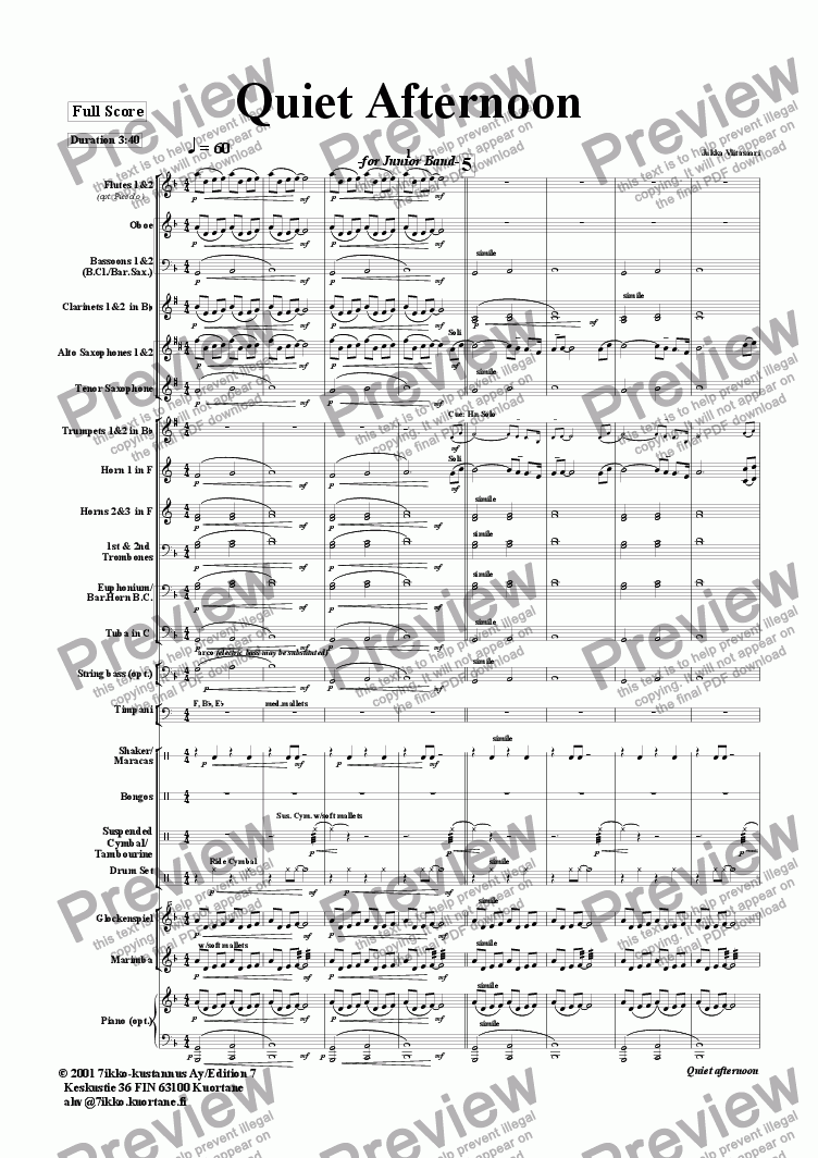 page one of Quiet Afternoon (wind band)ASALTTEXT