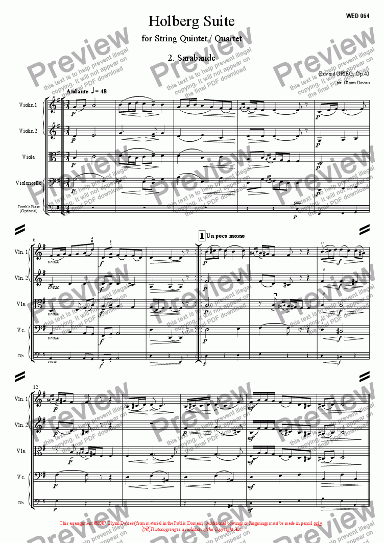 page one of Holberg Suite - 2. Sarabande