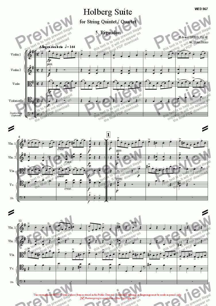 page one of Holberg Suite - 5. Rigaudon