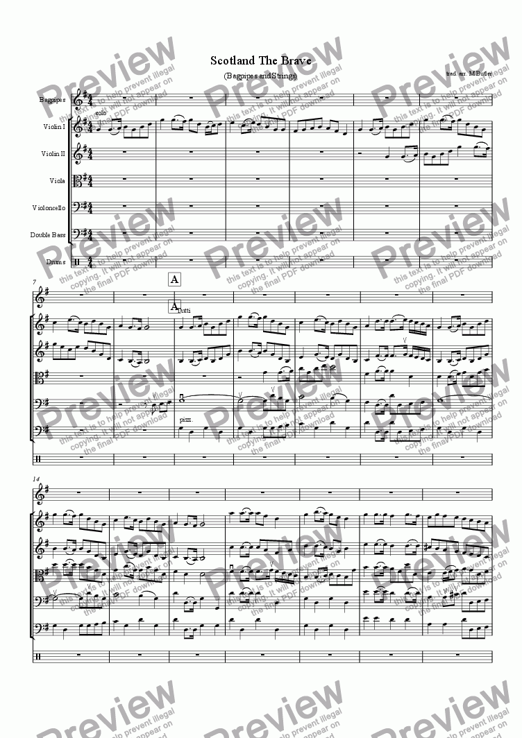 Scotland The Brave for String orchestra by anon  - Sheet Music PDF file to  download