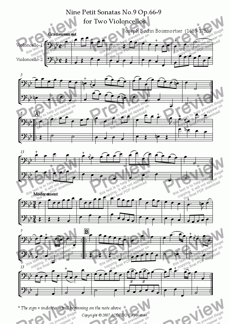 page one of Nine Petit Sonatas No.9 Op.66-9 for Two Violoncellos