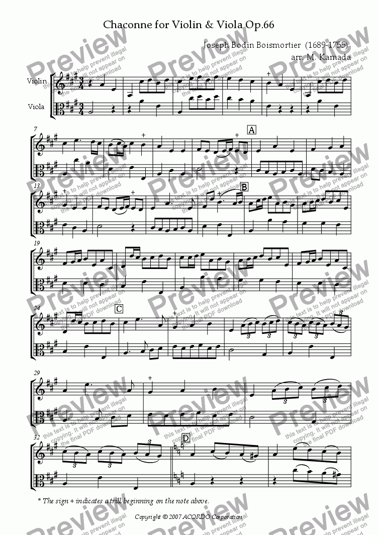 page one of Chaconne for Violin & Viola Op.66