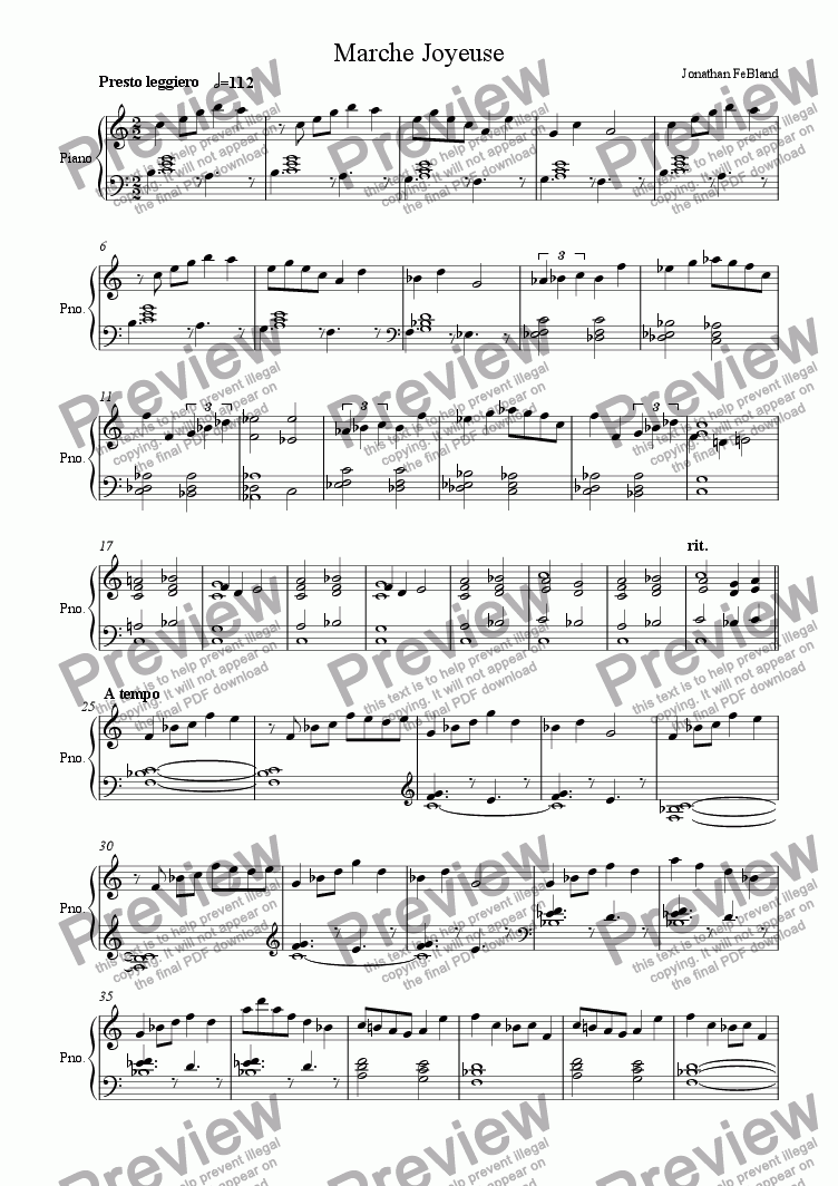 page one of Marche Joyeuse - Piano vers.