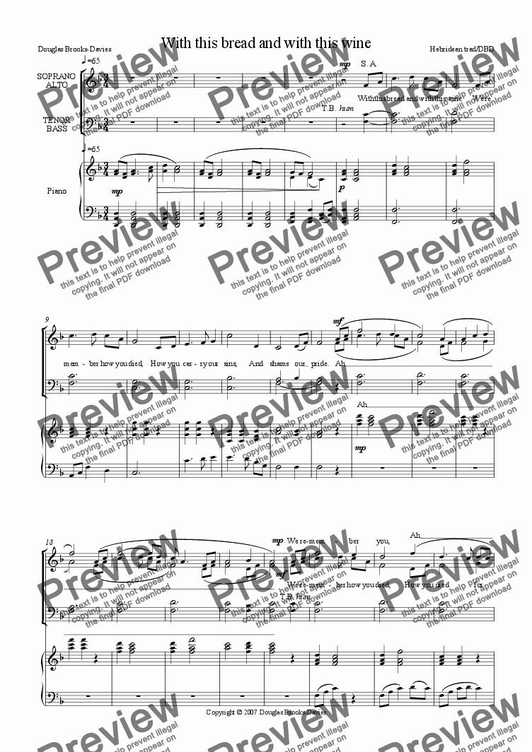 page one of Brooks-Davies: Communion anthem: With this bread and with this wine (based on the Eriskayan love song) SATB choir + piano