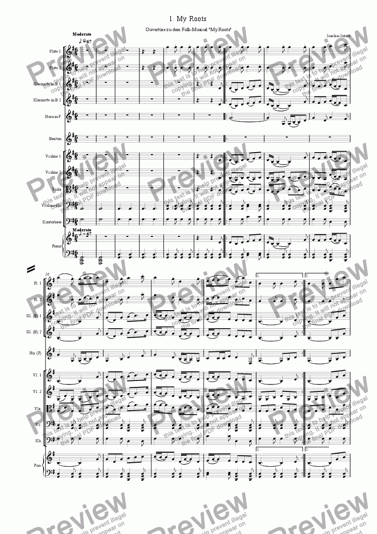 page one of My Roots 01 (Overture of irish Folk-Musical)