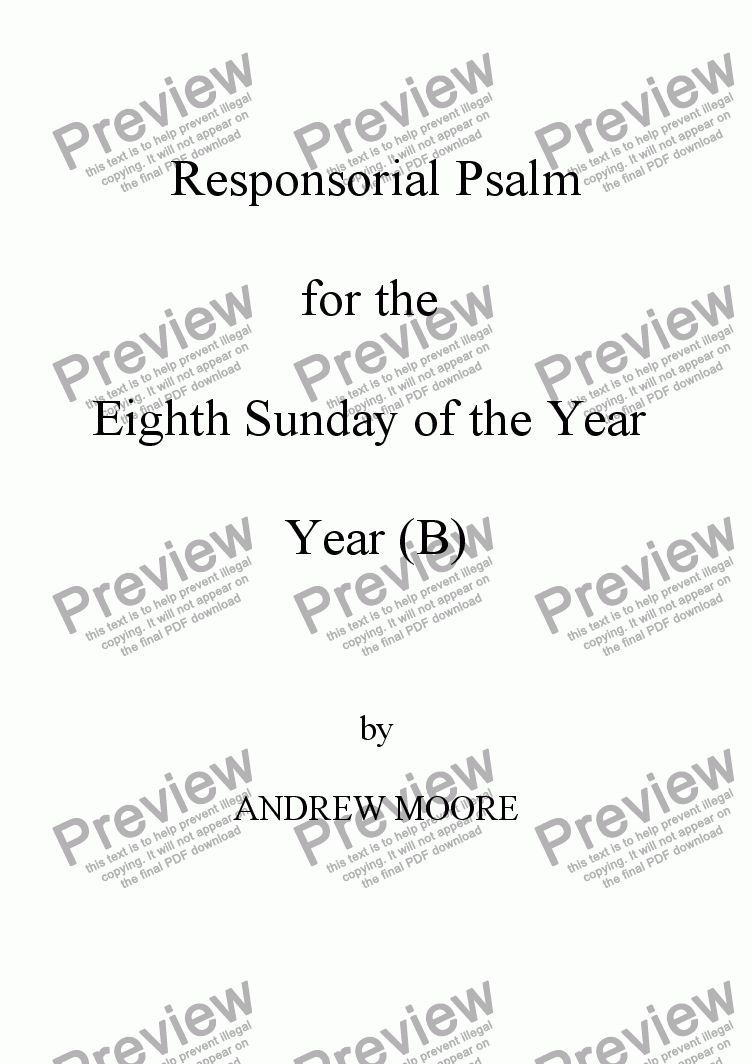 page one of Eighth Sunday of the Year (B)