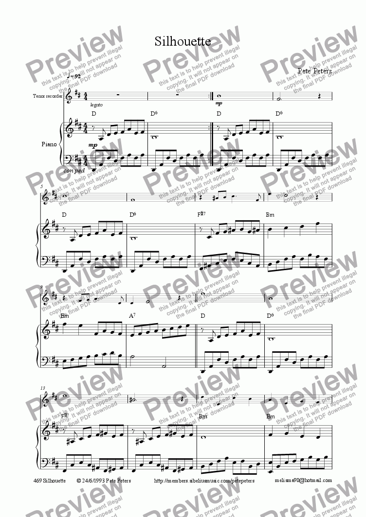 page one of Silhouette [Oboe,Rec,Flute]