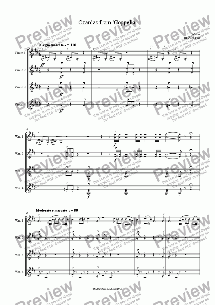 page one of Czardas from 'Coppelia'