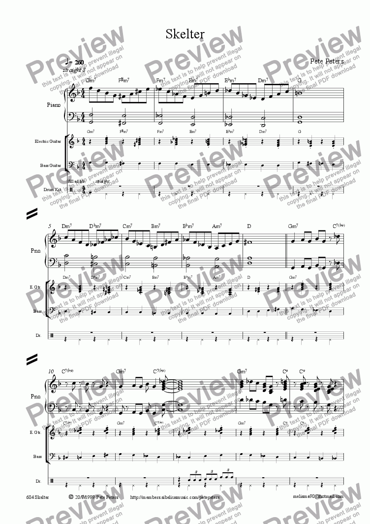 page one of Skelter {Jazz 4tet]