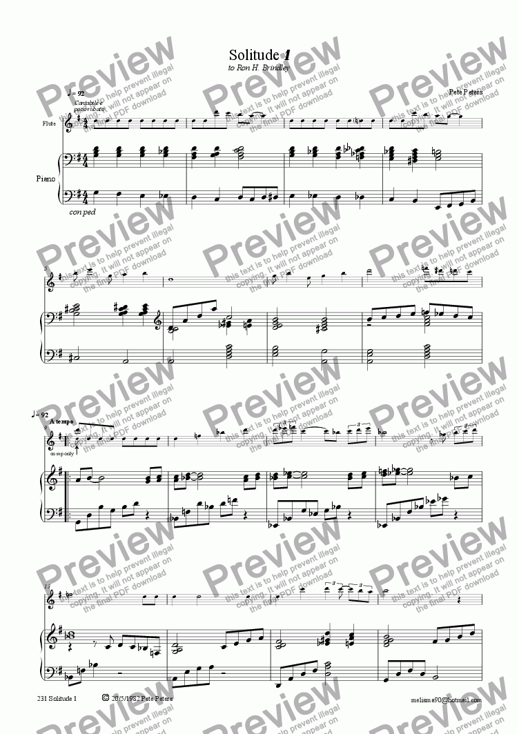page one of Solitude 1 [Recorder version + Piano]