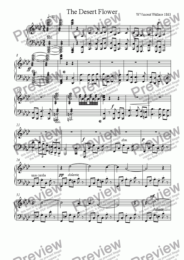 page one of Overture to the opera The Desert Flower (1863)