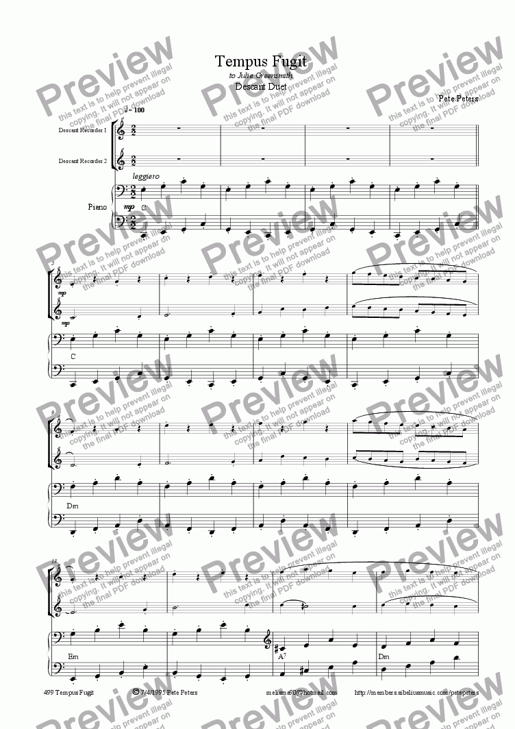 page one of Tempus Fugit [recorder duet + piano]