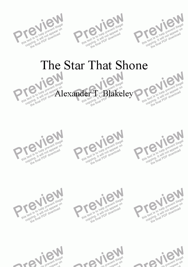 page one of The Star That Shone