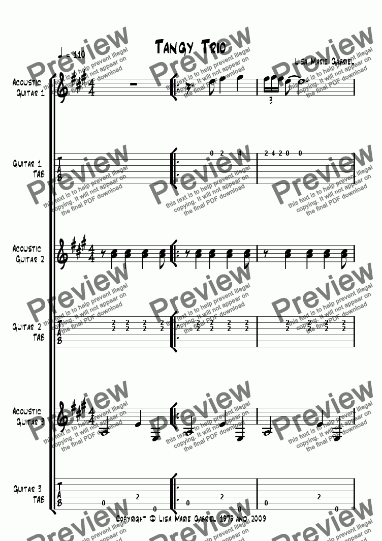 page one of TANGY TRIO - A lively Latin number for three fingerstyle guitars!