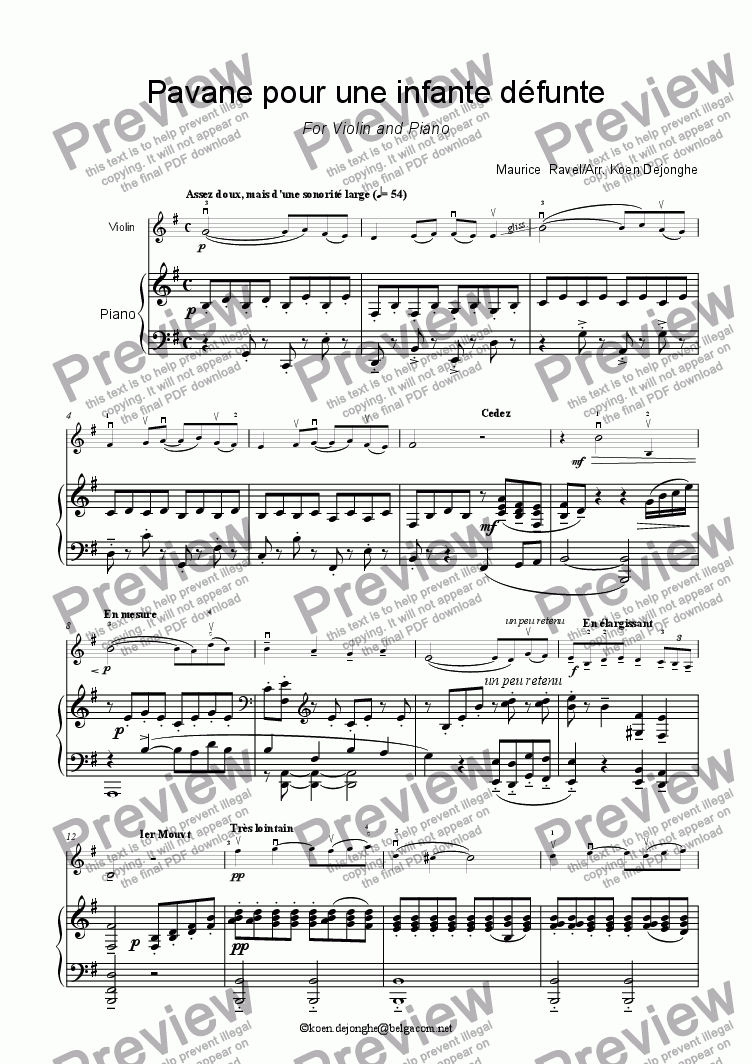 "page one of ""Pavane pour une infante d�funte"" for violin and Piano"