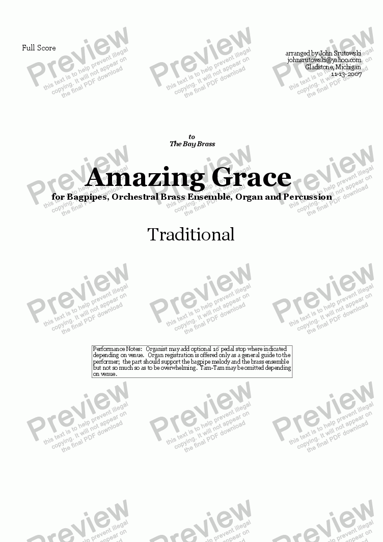 page one of Amazing Grace for Bagpipes, Orchestral Brass, Organ and Percussion