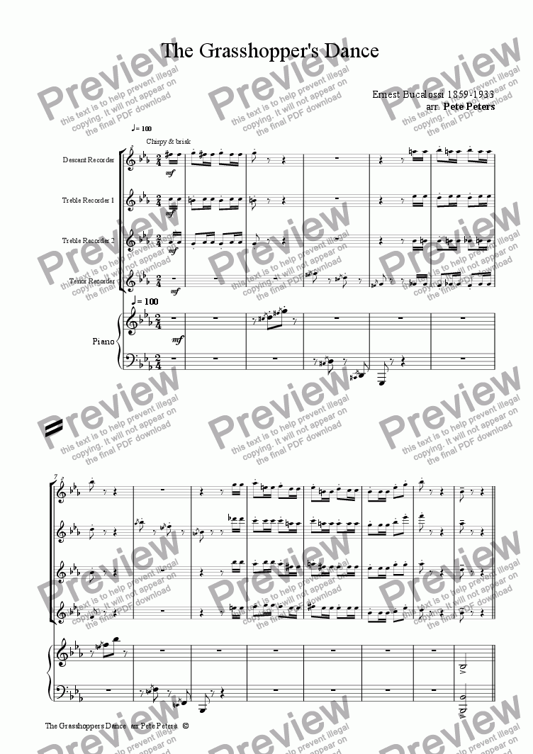 page one of Grasshoppers Dance [Rec 4tet + piano]