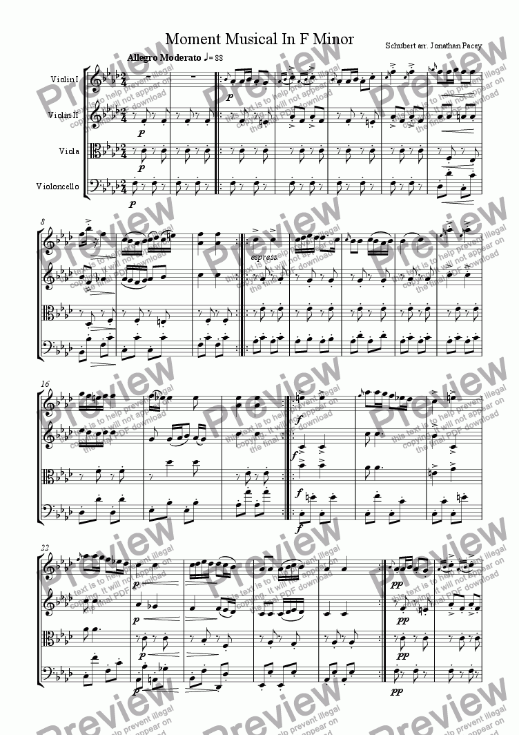 page one of Moment Musical In F Minor