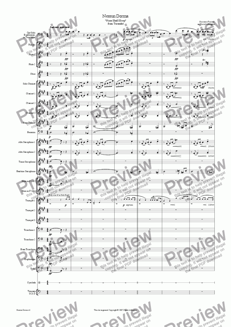 page one of Nessun Dorma from Turandot arranged for Wind Band