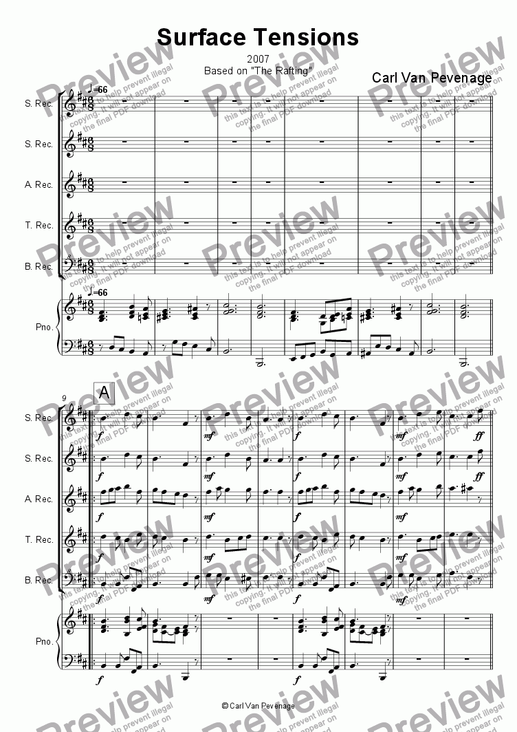 page one of Surface tensions for Recorders and Piano