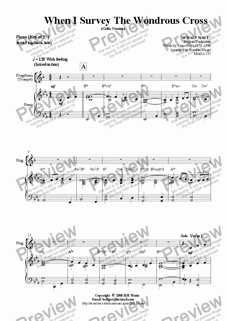 page one of When I Survey The Wondrous Cross (Celtic Version) - Flugelhorn  or Trumpet Solo with Piano