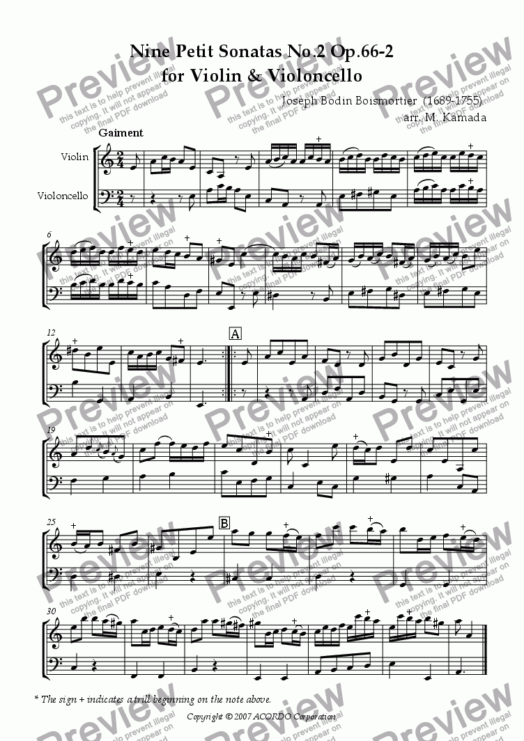page one of Nine Petit Sonatas No.2 Op.66-2 for Violin & VioloncelloASALTTEXT