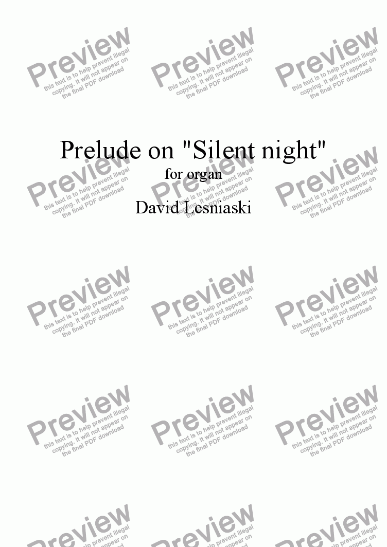 page one of Prelude on Silent Night