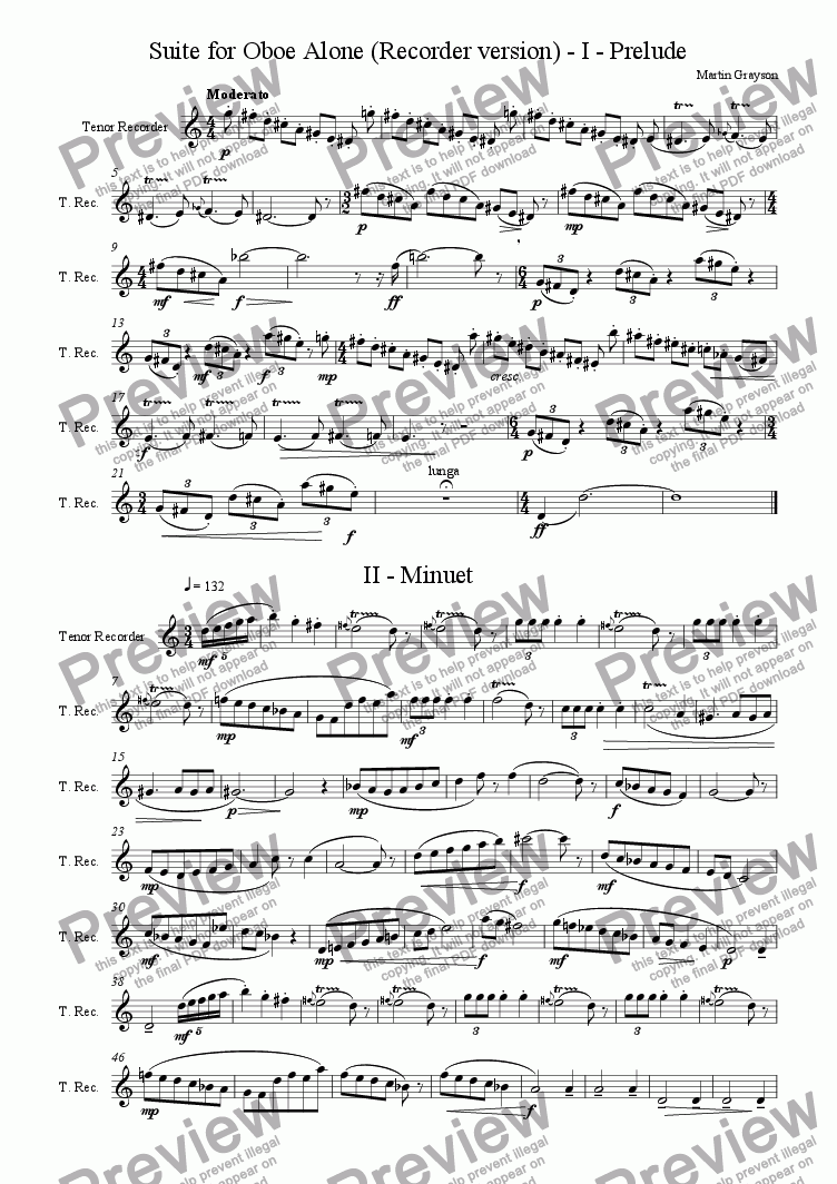 page one of Suite for Oboe Alone (Recorder version)ASALTTEXT