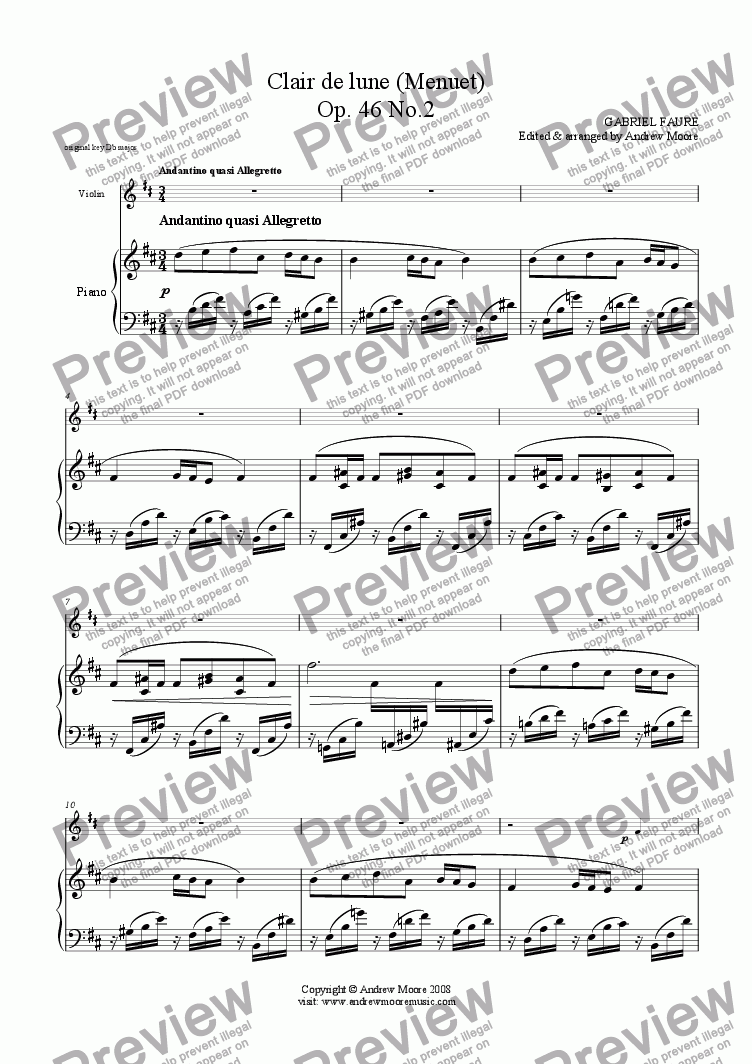 page one of 'Clair de Lune' arranged for Violin and piano