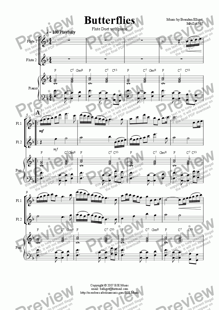 page one of Butterflies - Flute Duet with Piano [F]