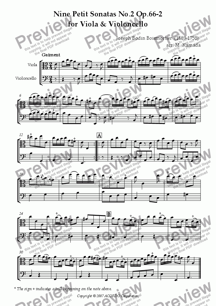 page one of Nine Petit Sonatas No.2 Op.66-2 for Viola & Violoncello